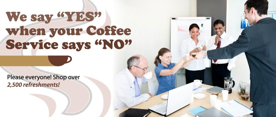 Shop Office Coffee Service breakroom supplies: Ground Coffee, K-cups, Pods, Tea, Sugar, Creamer, Vending, Snacks